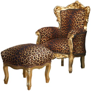 Design Kindermöbel Barockmöbel Set Angebot Thron mit Hocker leopard gold Antik – Bild 1