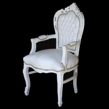 White carver accent dining chair in antique baroque furniture style – image 2