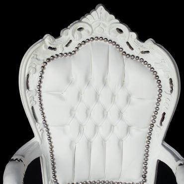 White carver accent dining chair in antique baroque furniture style – image 5