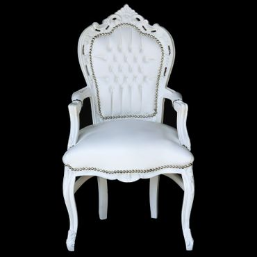 White carver accent dining chair in antique baroque furniture style – image 1