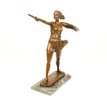 Beautiful Woman Warrior Bronze Statue Home Art  Lost Way Hand Polished Marble  – image 3