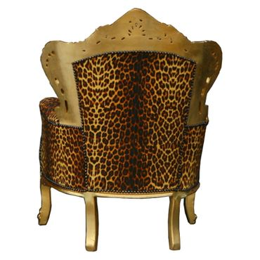 Leopard Throne antique style salon dining chair French Louis Leopard-print – image 3