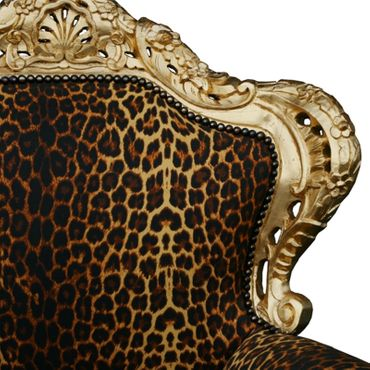Leopard Throne antique style salon dining chair French Louis Leopard-print – image 5
