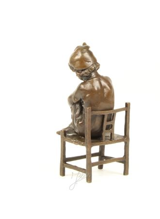 Cute Little Girl on Chair in Casted Bronze – image 2