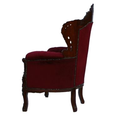 Throne, dark throne, simple dark red upholstery, solid wood frame – image 3