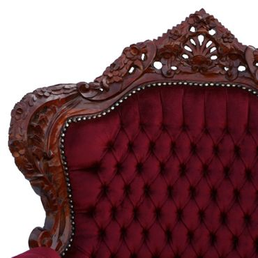 Throne, dark throne, simple dark red upholstery, solid wood frame – image 5