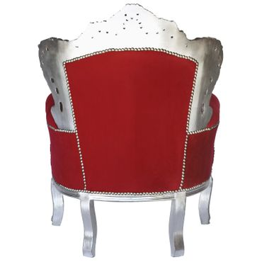 Red Throne silver-leafed solid wood red velvet – image 4