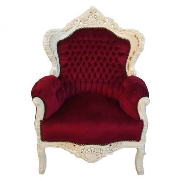 Classic Royal Red Throne Armchair White Hand Carved Wood Frame Baroque Style – image 1
