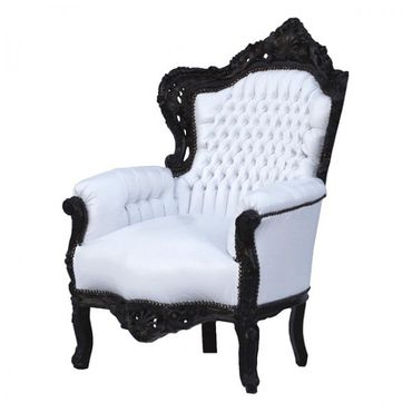 Fashionable Throne Armchair White Leatherette Black Wood Frame – image 2