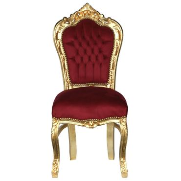 Accent Chair, gold-leafed solid wood burgundy velvet   – image 1