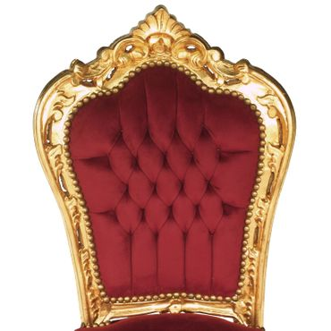 Accent Chair, gold-leafed solid wood burgundy velvet   – image 5