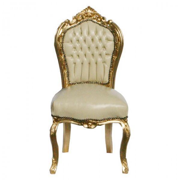 Lederstuhl Esszimmer Barock Möbel Retro Stühle Beige Vergoldeter Polster  Stuhl U2013 Bild 1