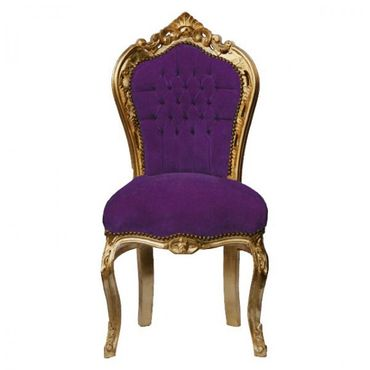 Upholstered antique dining chairs, solid wood purple
