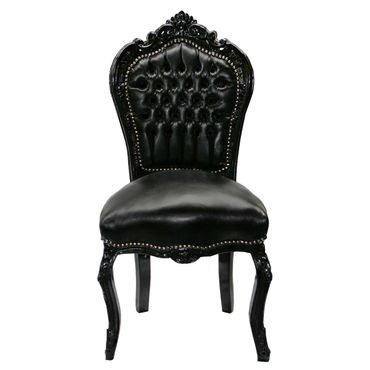 Black leather Baroque dining chair ANNA - with black wood frame  – image 1