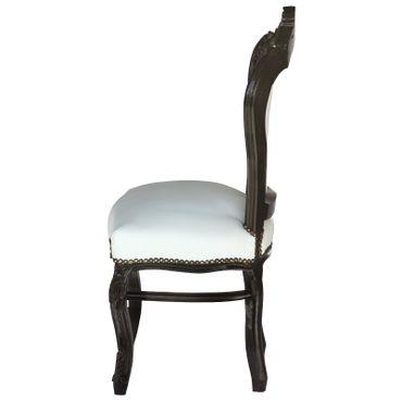 Barocker Polsterstuhl mit schwarzem Massivholzrahmen und weißem Kunstleder – Bild 3