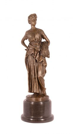 Autumnal woman Bronze Statue with woman in a long dress and crown standing on marble base