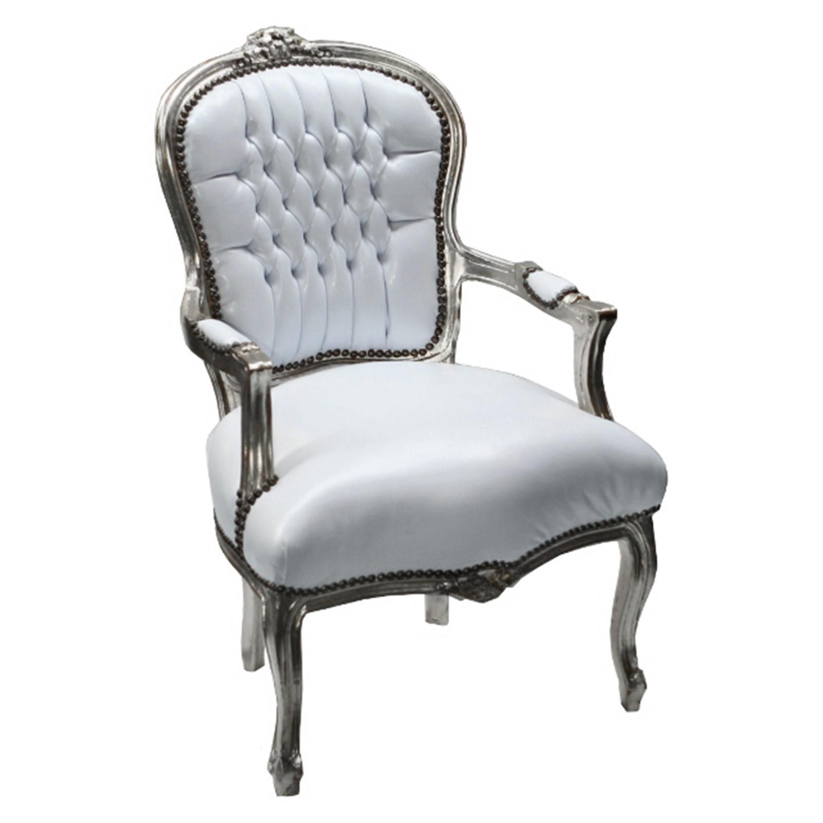 antik moebel massiv holz stuhl silber wei es kunstleder. Black Bedroom Furniture Sets. Home Design Ideas