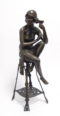 Antic Bronze Lady 20s Nighty on Bench Lost-Wax Hand Polished