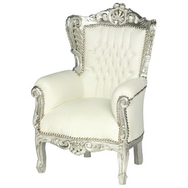 Baroque Throne Armchair Child Size Silver Wood Frame White Leatherette Cushions – image 2