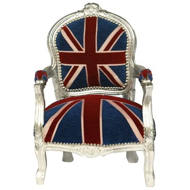 UK Flag Baroque Child Armchair Silver Hand Crafted Wood Frame – image 1