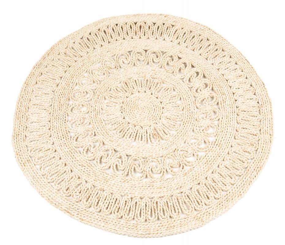 Strohteppich mit Muster 60 cm rund