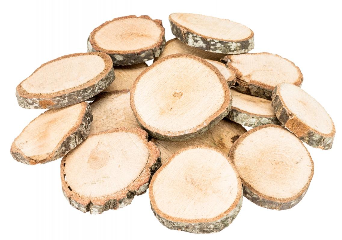 Holzscheiben natur 1kg Ø3-6cm