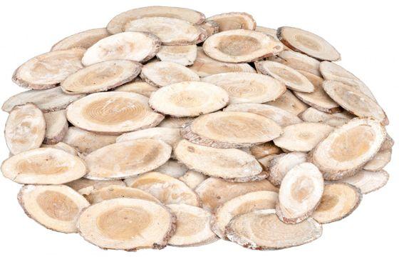 Holzscheiben oval weiß 0,5kg ca. 5-7x4x0,5cm – Bild