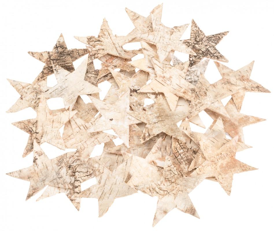 Birkenrinden Sterne groß ca. 9,5cm 35 Stk.