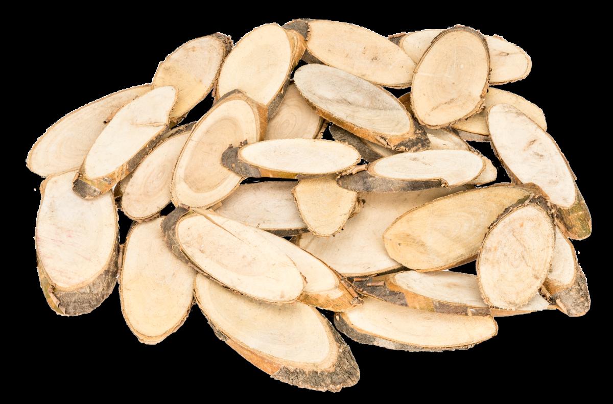 Holzscheiben oval Pinienholz ca.6-10cm 250g