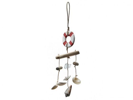 Dekohänger mit rotem Rettungsring, Muscheln und Treibholz ca. 45cm – Bild