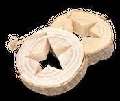 Holzscheibe groß mit Stern und Kordel Ø30cm x 4,5cm – Bild 2