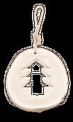 Holzscheibe groß mit Tannenbaum und Kordel Ø30cm x 4,5cm  – Bild 1