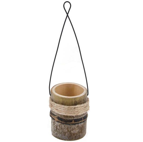 Bambus Vase zum Hängen mit Metallbügel ca. 10x9-28cm – Bild 1