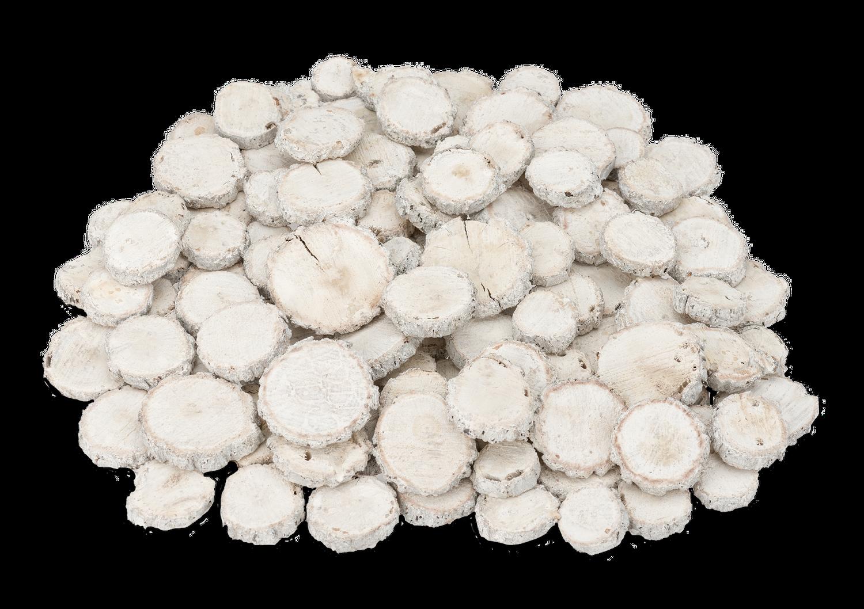 Eichen Holzscheiben weiß 1kg Ø2-5cm