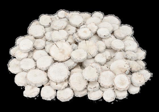 Eichen Holzscheiben weiß 1kg Ø2-5cm – Bild 1