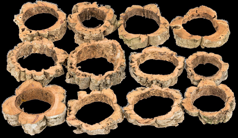 Naturkork Ringe 12 Stück 8-12cm | Korkrinde