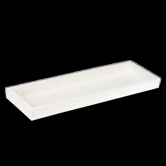 Holz-Tablett weiß 42x14x3cm | Dekotablett – Bild 1