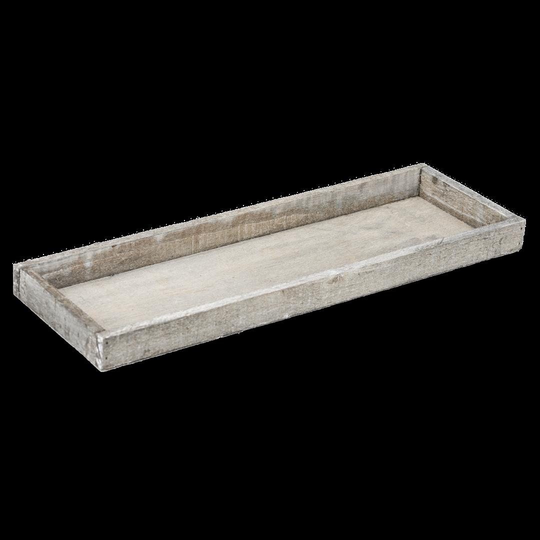 Holz-Tablett grau 42x14x3cm | Dekotablett