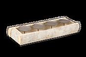 Kerzenhalter Rindenholz weiß gewaschen für 4 Kerzen ca. 45x15x6cm | Kerzenteller – Bild 1