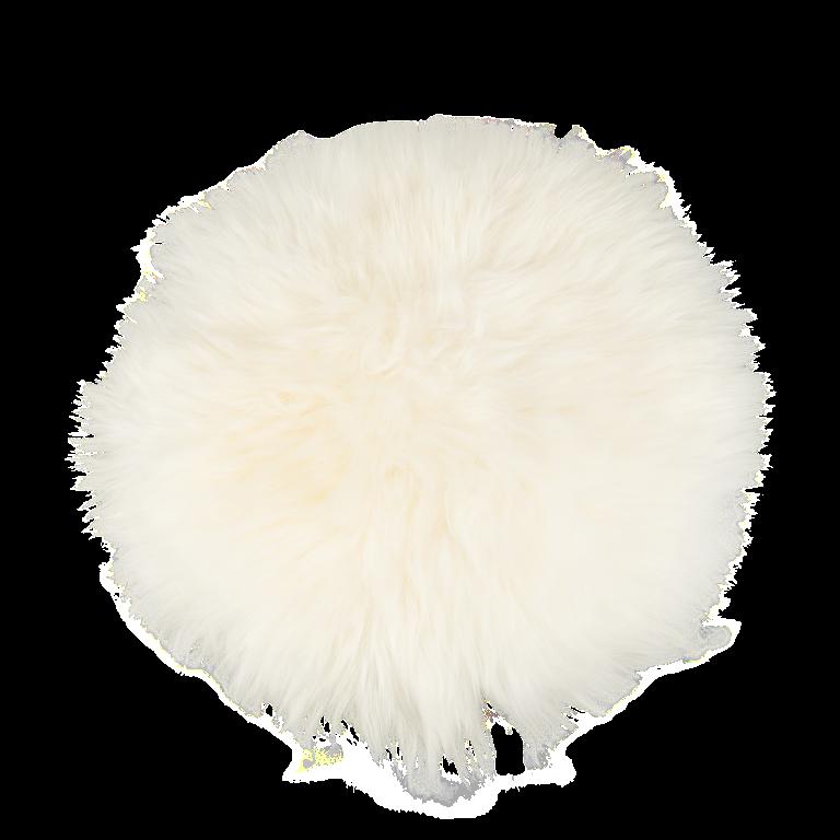 Sitzkissen Lammfell rund naturweiß ( Ø 34 cm )