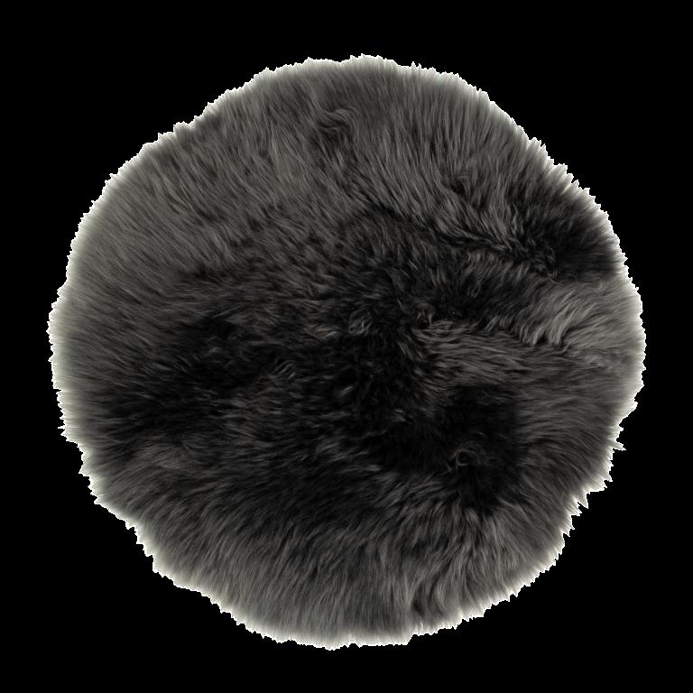 Sitzkissen rund aus Lammfell anthrazit ( Ø 34 cm )