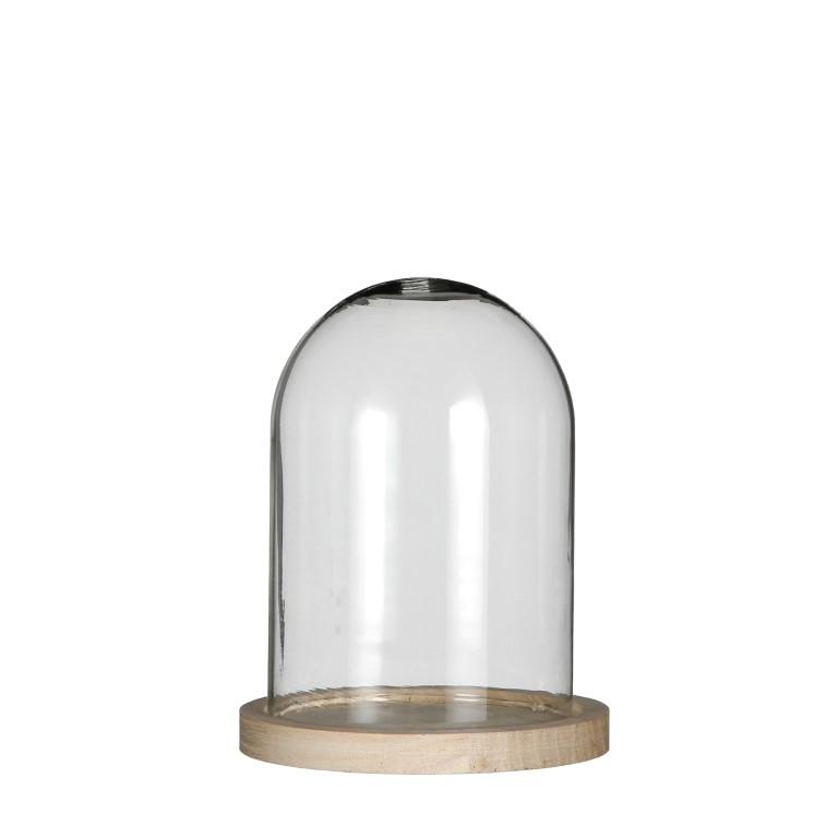 Glasdom klein mit Holzfuß Ø13cm Höhe 16cm