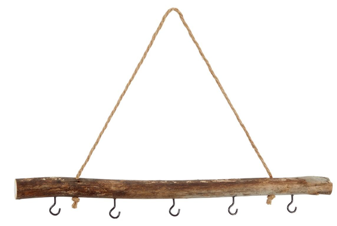 Deko Holz Stange zum Hängen ca. 50cm mit 5 Haken und Kordel