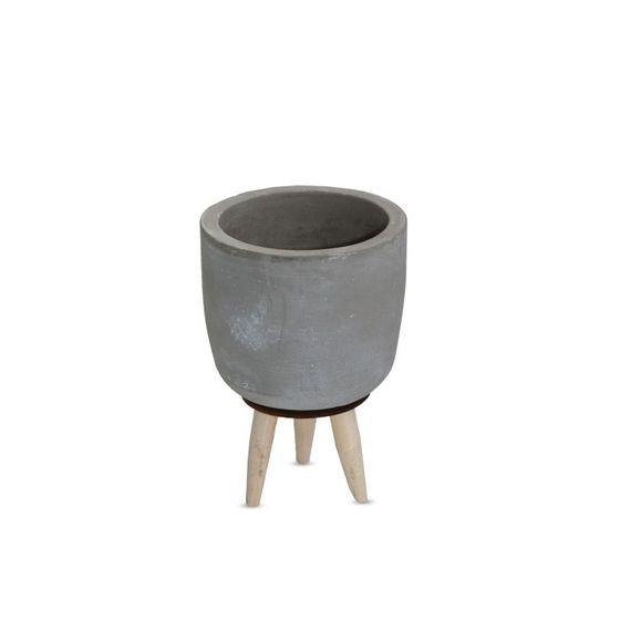 Zementtopf auf Holzbeinen Höhe 11cm Ø 8cm | Übertopf aus Zement  – Bild 1