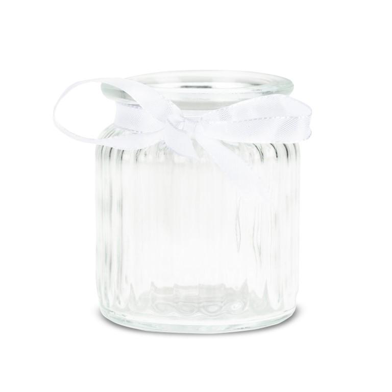 Windlichter 12 Stück Ø 7,5 cm / H 9 cm inklusive Dekoband aus weißen Doppelsatin