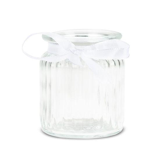 Windlichter 12 Stück Ø 7,5 cm / H 9 cm inklusive Dekoband aus weißen Doppelsatin – Bild 1
