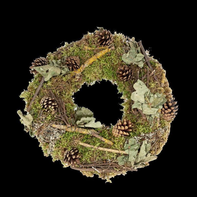 Großer Türkranz aus Moos, Laub, Zapfen und Zweigen Ø 40cm | Dekokranz