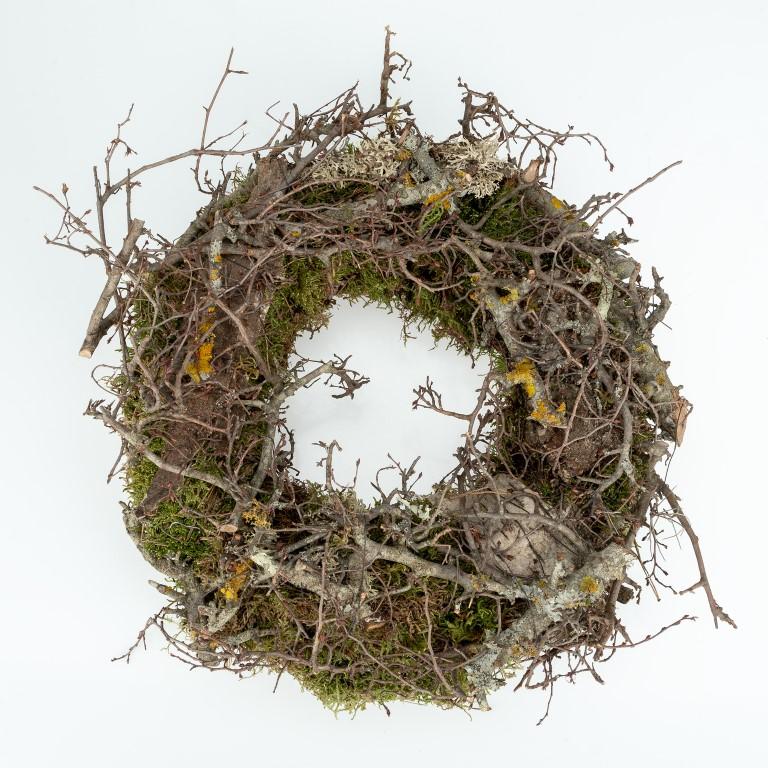 Türkranz aus Dekomoos und Zweigen Ø 35cm | Dekokranz