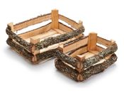 Eichen Holzkiste 2er Set 33x23x14cm