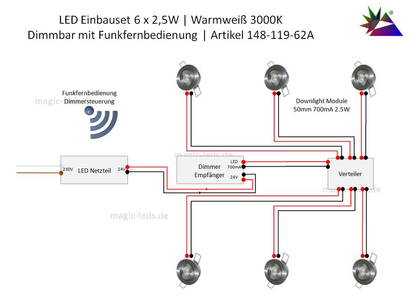 LED Einbaustrahler Set Funk Dimmbar | 6 x 2,5W | Warmweiß – Bild 2